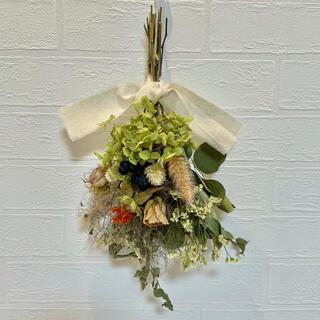 ドライフラワースワッグ カシワバ紫陽花 誕生日ギフト ウエディング ウエルカム花(ドライフラワー)