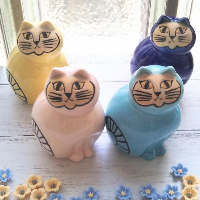 Lisa Larson(リサラーソン)の限定カラー リサラーソン 猫 カラフル ミア 4つセット Lisa Larson インテリア/住まい/日用品のインテリア小物(置物)の商品写真