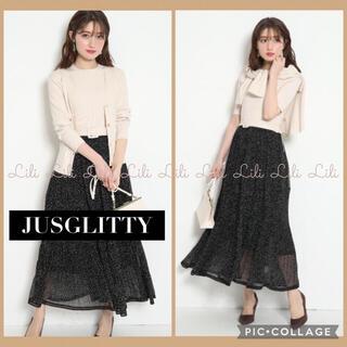 ジャスグリッティー(JUSGLITTY)のJUSGLITTY カーデ付プリーツスカートドッキングワンピ ジャスグリッティー(ロングワンピース/マキシワンピース)