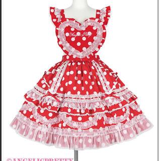 Angelic Pretty - heart胸当て付きスカートドット 赤