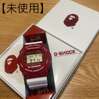 A BATHING APE - 【未使用】A BATHING APE® × G-SHOCK コラボ 白×赤