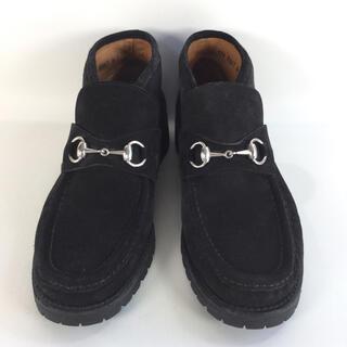 Gucci - 【美品】グッチ/GUCCI チャッカブーツ シルバーホースビット スウェード 黒