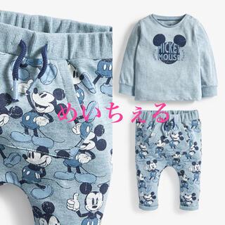 ディズニー(Disney)の【新品】ブルー Mickey Mouse Tシャツ&ジョガーセット(ベビー)(シャツ/カットソー)