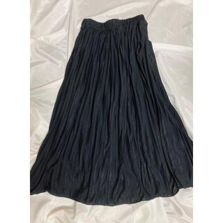 サマンサモスモス(SM2)の黒 プリーツスカート ロングスカート ウエストゴム Samansa Mos2 (ロングスカート)