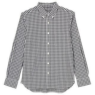 MUJI (無印良品) - 無印良品 ボタンダウン ギンガムチェックシャツ ブラック Lサイズ