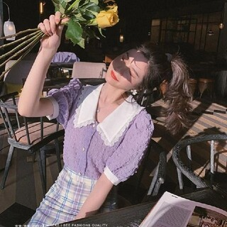 GOGOSING - 新品未使用 パフスリーブ シャツ シフォン 紫 パープル フリーサイズ