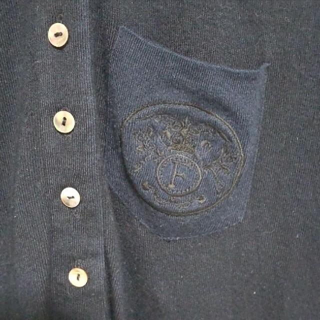 FOXEY(フォクシー)のFOXEY(フォクシー)半袖ポロシャツ 黒×茄子紺×白 レディースのトップス(ポロシャツ)の商品写真