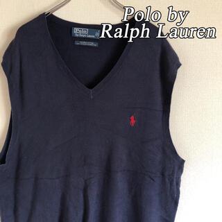 ポロラルフローレン(POLO RALPH LAUREN)のポロバイラルフローレン コットンニット ベスト セーター L ワンポイントロゴ(ニット/セーター)