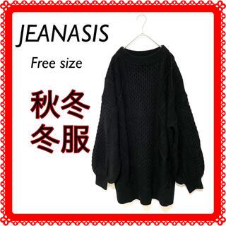 JEANASIS - 【★万能★】ジーナシス黒ニットバルーン袖タートルネックFサイズ