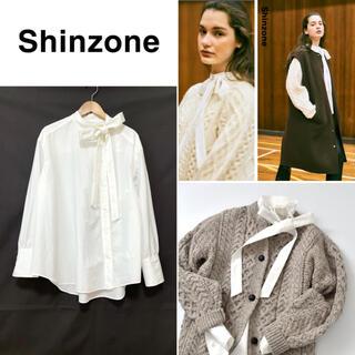 Drawer - 幻 美品Shinzoneシンゾーン サイドタイブラウス リボンシャツ ホワイト白