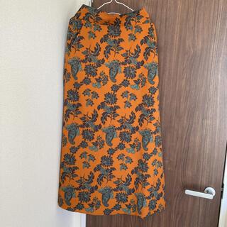 ユナイテッドアローズ(UNITED ARROWS)の即購入◎ リエス秋色オレンジペーズリーフラワープリントモードタイトロングスカート(ロングスカート)