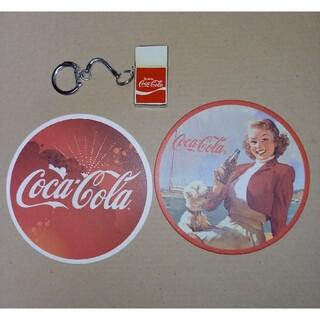 コカコーラ(コカ・コーラ)のアメリカンポップ「コカ・コーラ」極小ライター実用品&コースター2枚(ノベルティグッズ)