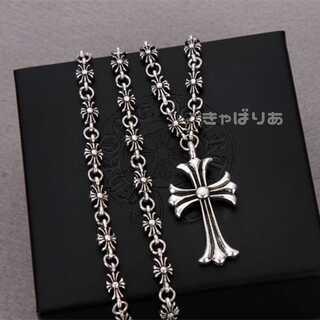 特大クロスネックレス 十字架 重厚 夏 シルバー 60cm(ネックレス)