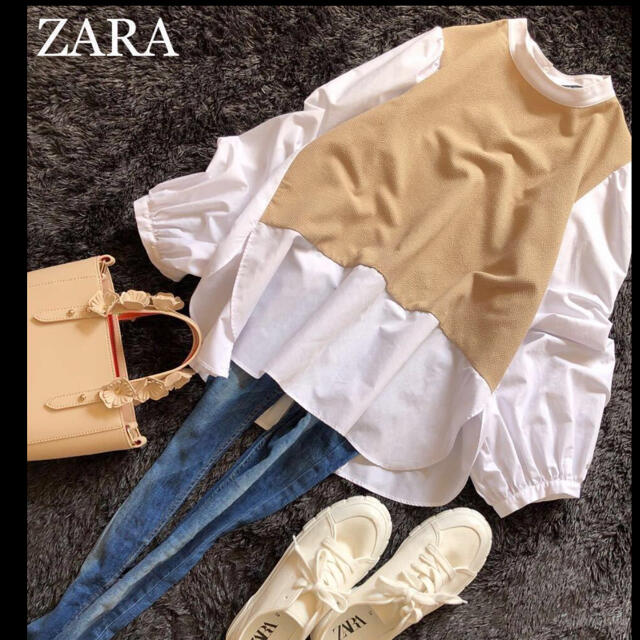 ZARA(ザラ)のZARA 美品 お洒落カジュアル 異素材バックプリーツ ブラウス レディースのトップス(シャツ/ブラウス(長袖/七分))の商品写真