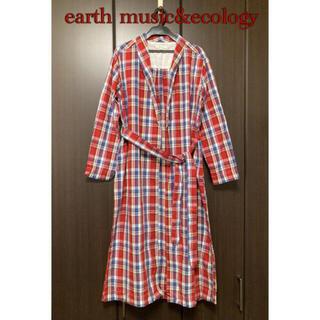 アースミュージックアンドエコロジー(earth music & ecology)のearth music&ecology チェックロングシャツ ガウン(シャツ/ブラウス(長袖/七分))