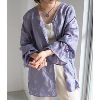 カスタネ(Kastane)のkastane シアージャガードレース2WAYカーディガンシャツブラウス 紫(シャツ/ブラウス(長袖/七分))