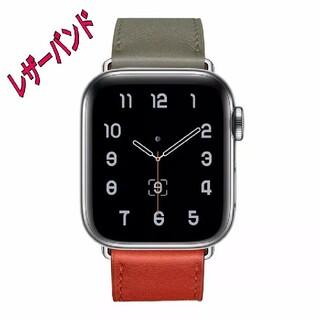 Apple Watch レザー バンド 42/44mm オリーブ/レッド(その他)