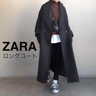ZARA - ロングコート グレー ネイビー