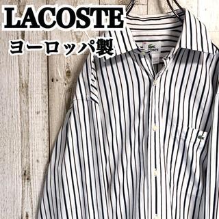 LACOSTE - ラコステ ヨーロッパ製 ワンポイント ロゴ刺繍 ストライプ柄 シャツ