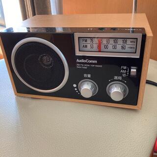 オームデンキ(オーム電機)の【美品】AM/FM 木製ラジオ 保証書有り(ラジオ)
