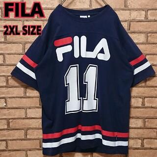 FILA - FILA フィラ フロント ロゴ ネイビー メンズ 半袖 ライン Tシャツ