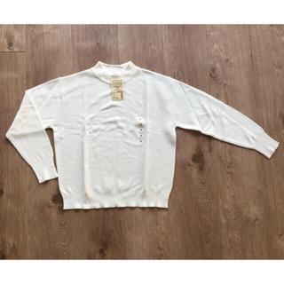 MUJI (無印良品) - emtan様専用・コットンシルクガーター編み モックネックセーター・白・黒・M