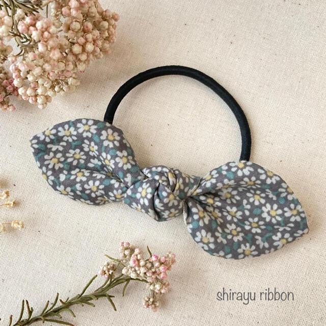 リボン ヘアゴム CHECK&STRIPE リトルマーガレット ハンドメイドのアクセサリー(ヘアアクセサリー)の商品写真