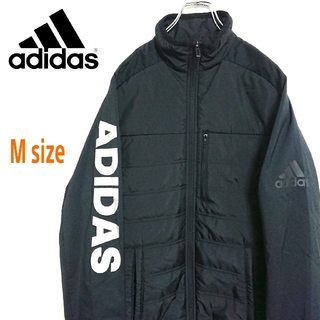 adidas - adidas アディダス 黒色 ナイロンジャケット ブルゾン アウター デカロゴ