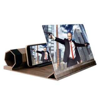 最新型 コーヒーブラウン 12インチ 木製 スマフォ・携帯電話スクリーン拡大鏡(その他)