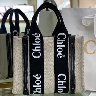 Chloe クロエ woody トートバッグ 黒+ホワイトフォント