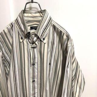 バーバリーブラックレーベル(BURBERRY BLACK LABEL)のバーバリー ストライプ シャツ ブラックレーベル  古着 胸元 刺繍(シャツ)