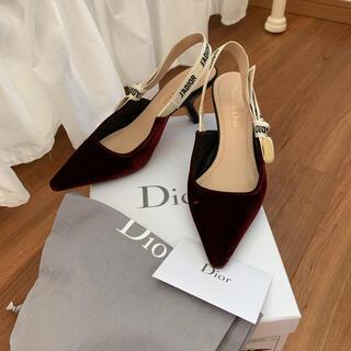 クリスチャンディオール(Christian Dior)のディオール J'adiorスリングバックリボンベロアパンプス(ハイヒール/パンプス)