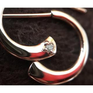 agete - アガット K10PG フープピアス ダイヤモンド1石付き