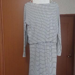 ショコラフィネローブ(chocol raffine robe)のchocol raffine robeボーダー長袖ワンピース(ひざ丈ワンピース)