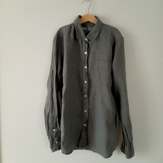 MUJI (無印良品) - MUJI 無印良品 リネンシャツ グレー レディース L