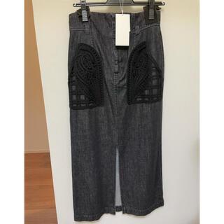 mame - mame コード刺繍 デニムスカート ブラック サイズ2