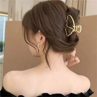 人気 マットゴールド ヘアクリップ 蝶 チョウ ヘアアクセサリー 韓国
