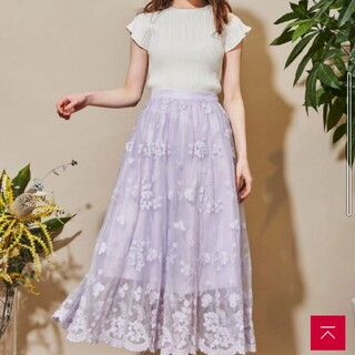 Noela - ノエラ チュールフラワー刺繍スカート