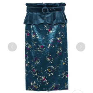 Lily Brown - 【リリーブラウン】筆書き花柄タイトスカート(ブルー・0サイズ)