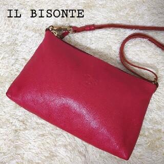 IL BISONTE - イルビゾンテ ショルダーバッグ ポシェット ロゴ刻印 レザー レッド