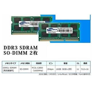 ノートPC用メモリ16GB(8GBx2)