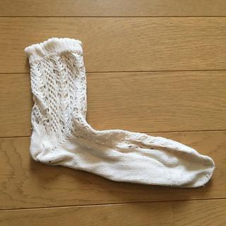 クツシタヤ(靴下屋)の編み上げ靴下 23〜25cm(ソックス)