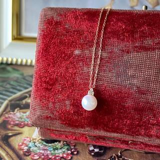 アコヤ真珠 あこや真珠 1粒 天然ダイヤモンド 18金ネックレス 新品 未使用品
