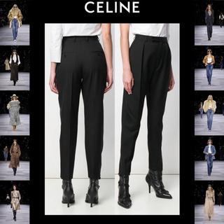 セリーヌ(celine)の未使用 CELINE セリーヌ ウール テーパードパンツ 34 ブラック(カジュアルパンツ)