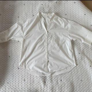 GU - ジーユー シャツ ブラウス 五分丈 ノーカラー 白シャツ