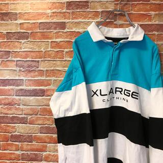 エクストララージ(XLARGE)の美品 エクストララージ ラガーシャツ ボーダー 長袖ポロシャツ ボーダーLサイズ(ポロシャツ)
