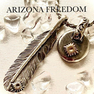 アリゾナフリーダム(ARIZONA FREEDOM)のARIZONA FREEDOM フェザー&太陽神メタルトップ唐草 迷わない黄金比(ネックレス)