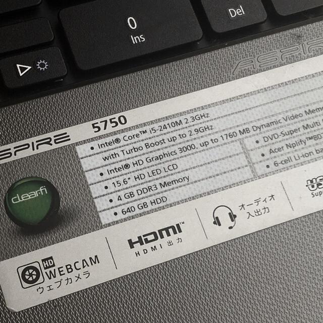 Acer(エイサー)のノートパソコン PC acer エイサー 【 正常作動 】 スマホ/家電/カメラのPC/タブレット(ノートPC)の商品写真
