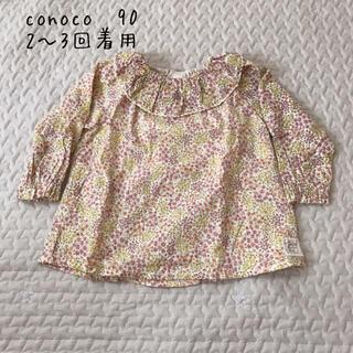 フタフタ(futafuta)のconoco花柄トップス90コノコカットソーフリル襟(Tシャツ/カットソー)