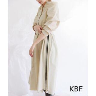 KBF - 【KBF】ストライプロングシャツワンピース アイボリー